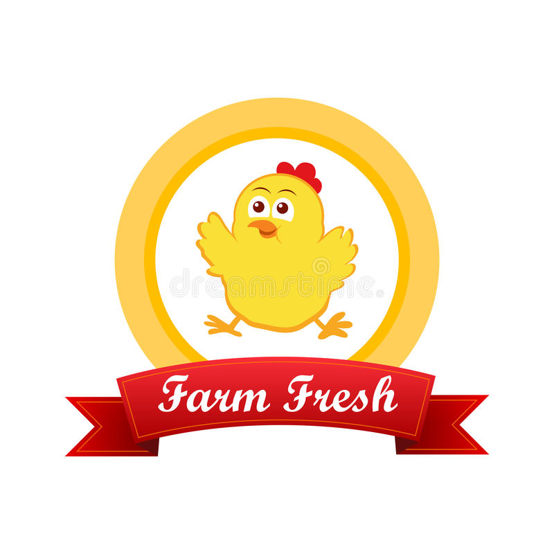 Έμβλημα με το χαριτωμένο κοτόπουλο διανυσματική απεικόνιση