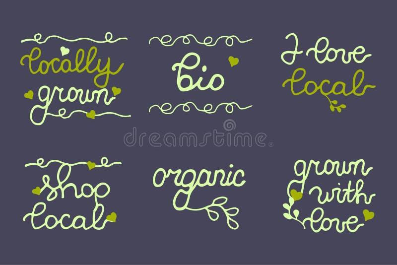 Έμβλημα οργανικής τροφής, λογότυπο, συλλογή εικονιδίων διανυσματική απεικόνιση