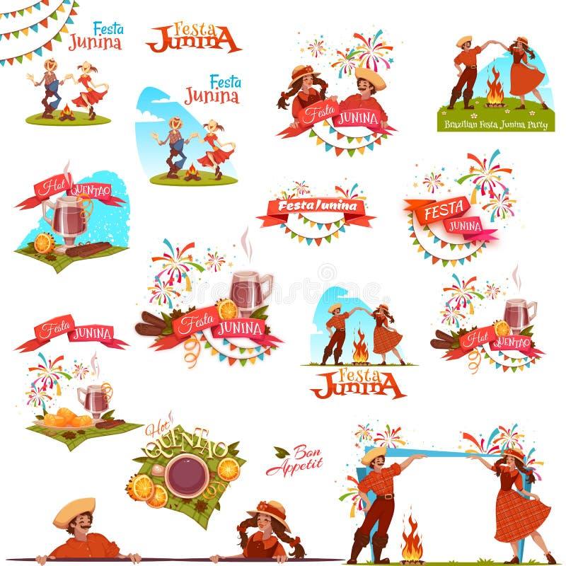 Έμβλημα που τίθεται με τις κορδέλλες για το κόμμα Festa Junina Βραζιλία επίσης corel σύρετε το διάνυσμα απεικόνισης διανυσματική απεικόνιση