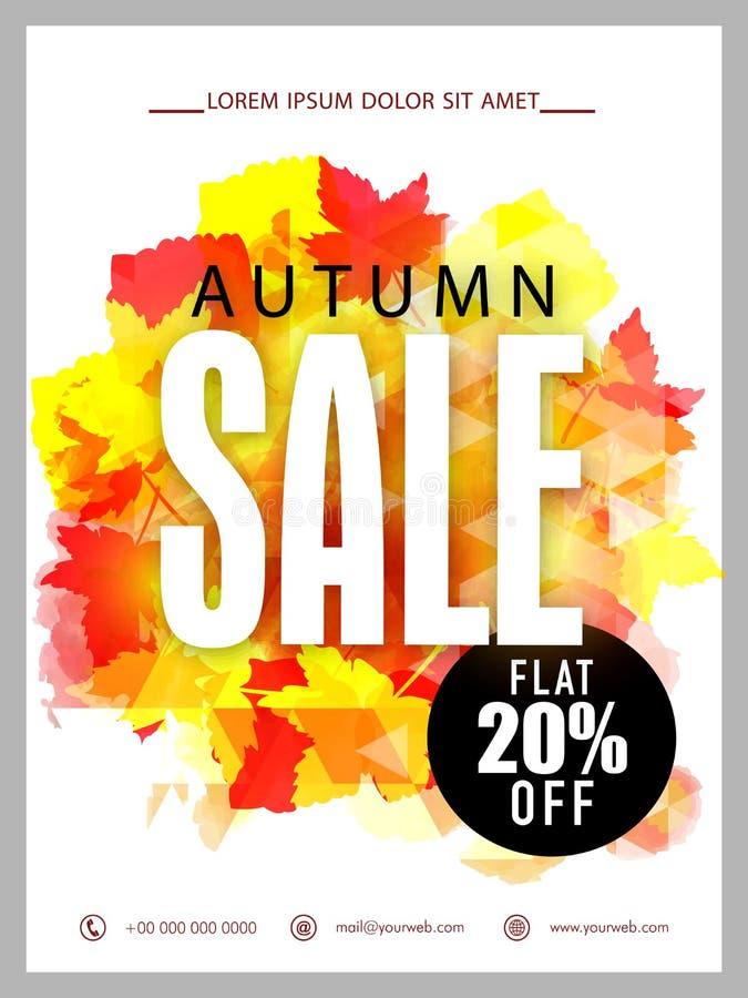 Έμβλημα πώλησης φθινοπώρου, αφίσα ή σχέδιο ιπτάμενων απεικόνιση αποθεμάτων