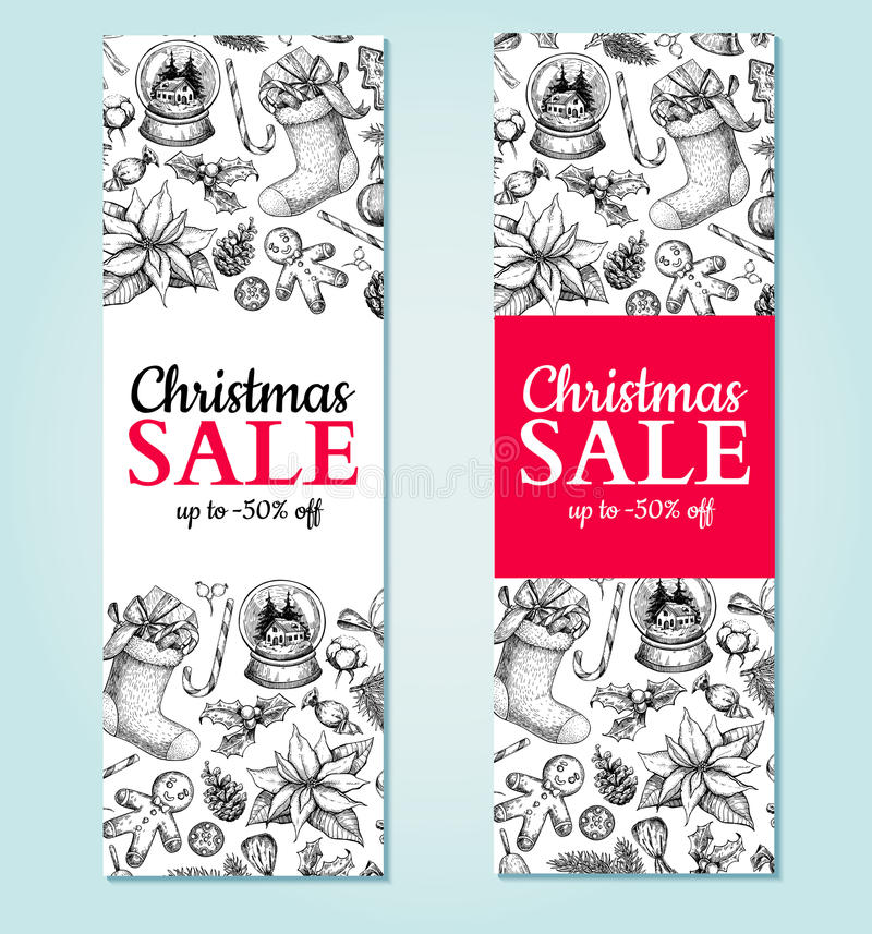 Έμβλημα πώλησης Χριστουγέννων Διανυσματική συρμένη χέρι απεικόνιση Σχέδιο Χριστουγέννων διανυσματική απεικόνιση