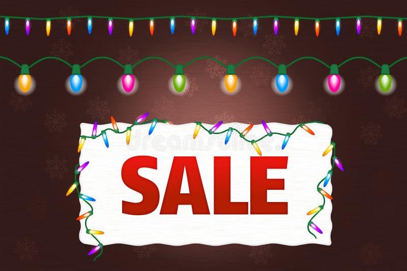 Έμβλημα πώλησης Χριστουγέννων με τα φω'τα ελεύθερη απεικόνιση δικαιώματος