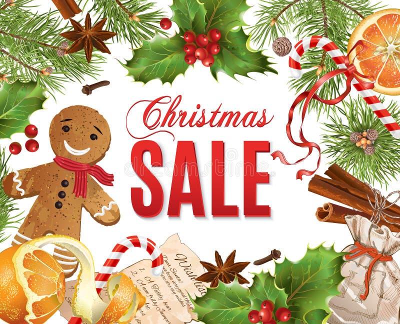 Έμβλημα πώλησης Χριστουγέννων ελεύθερη απεικόνιση δικαιώματος