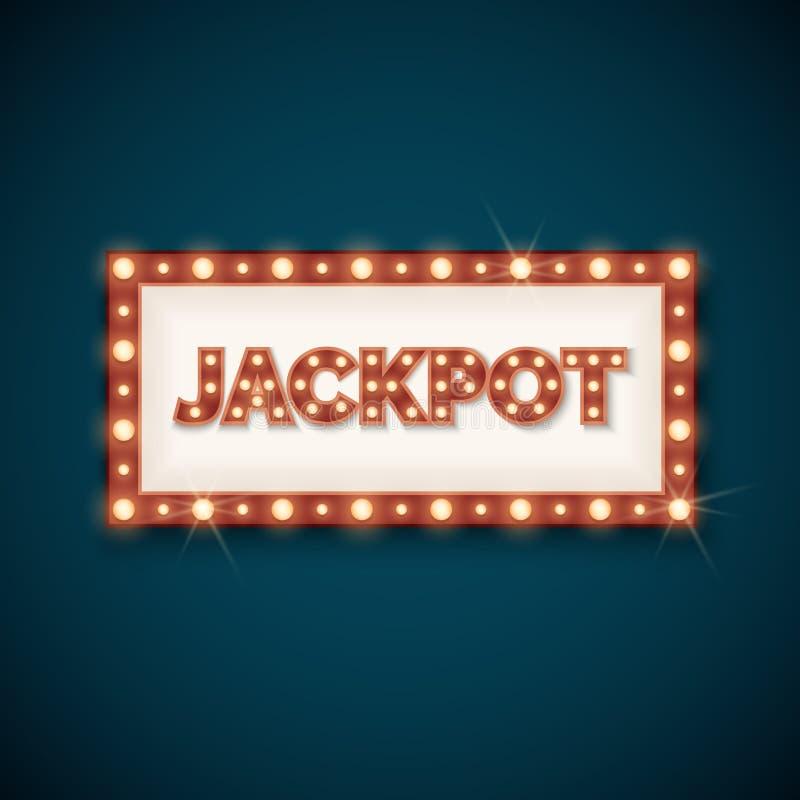 Έμβλημα τζακ ποτ με την αναδρομική φωτεινή διανυσματική απεικόνιση πλαισίων απεικόνιση αποθεμάτων