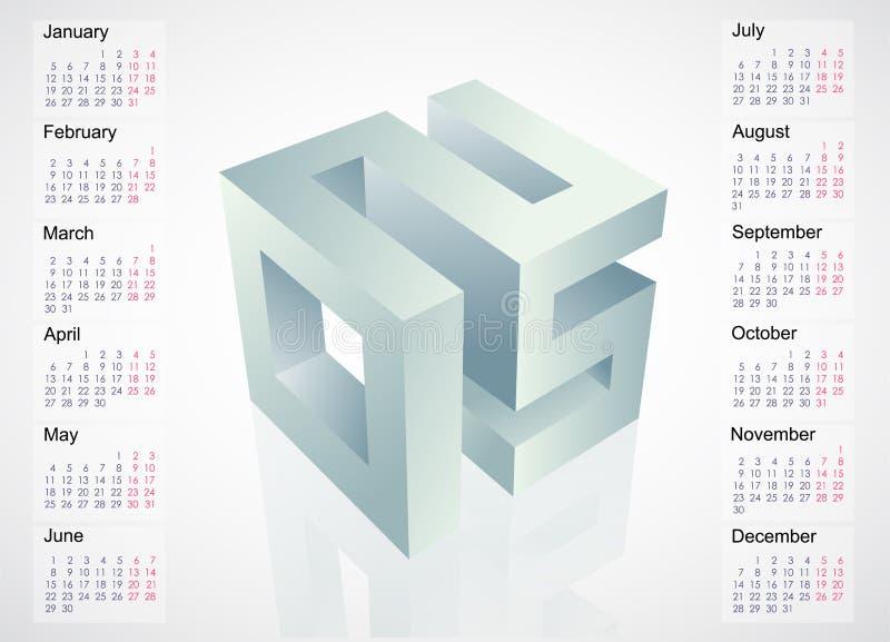 έμβλημα του 2015 με το ημερολογιακό πρόγραμμα ελεύθερη απεικόνιση δικαιώματος