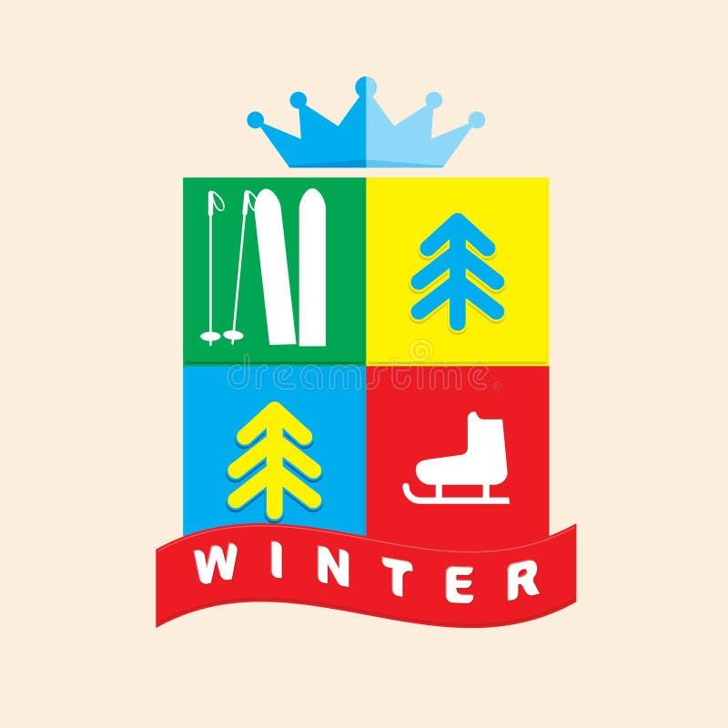 Έμβλημα του χειμερινού αθλητισμού διανυσματική απεικόνιση