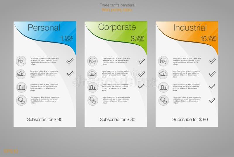 Έμβλημα τρία για τα δασμολόγια και τους τιμοκαταλόγους abstrat Ιστός απεικόνισης στοιχείων Φιλοξενία σχεδίων Διανυσματικό σχέδιο  ελεύθερη απεικόνιση δικαιώματος