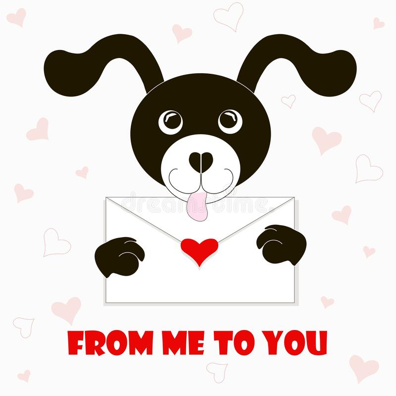 Έμβλημα τυπογραφίας από με σε σας, γραπτό σκυλί κινούμενων σχεδίων με το φάκελο, κόκκινες καρδιές διανυσματική απεικόνιση