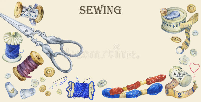 Έμβλημα των διάφορων συρμένων χέρι εκλεκτής ποιότητας αντικειμένων για το ράψιμο, τη βιοτεχνία και χειροποίητος απεικόνιση αποθεμάτων
