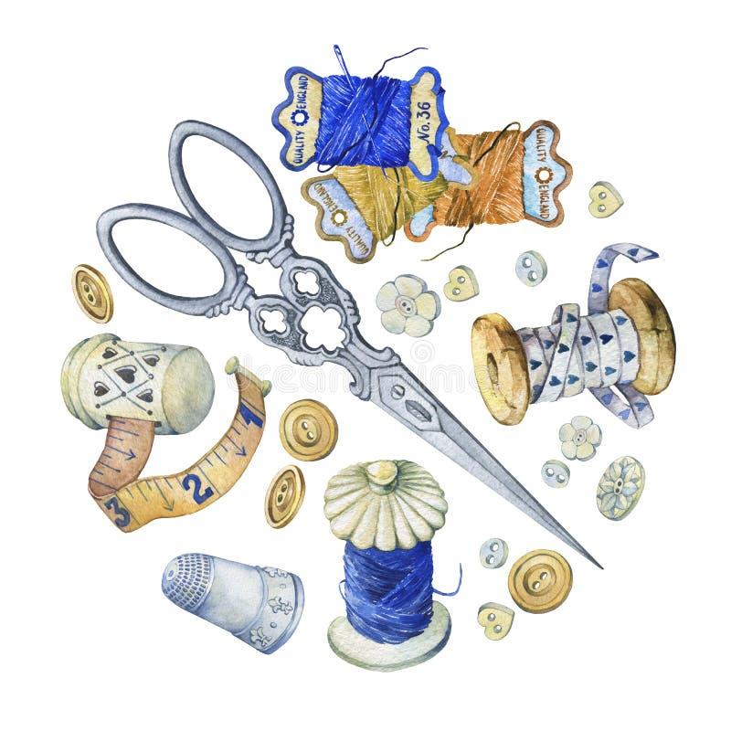 Έμβλημα των διάφορων συρμένων χέρι εκλεκτής ποιότητας αντικειμένων για το ράψιμο, τη βιοτεχνία και χειροποίητος ελεύθερη απεικόνιση δικαιώματος