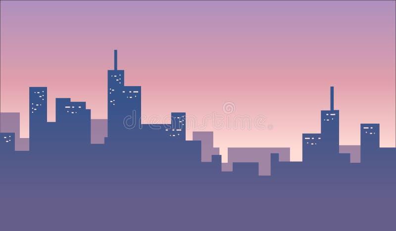 Έμβλημα υποβάθρου οριζόντων πόλεων ελεύθερη απεικόνιση δικαιώματος