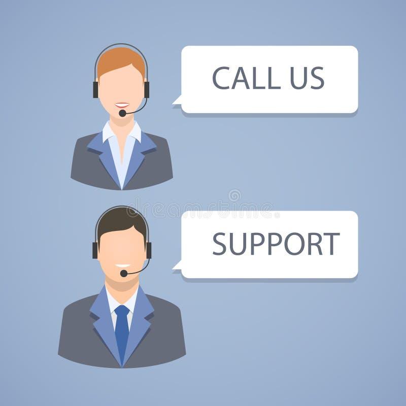 Έμβλημα υποστήριξης τηλεφωνικών κέντρων απεικόνιση αποθεμάτων