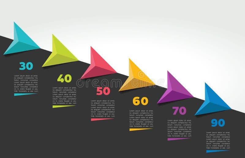 Έμβλημα υπόδειξης ως προς το χρόνο Infographic Βαθμιαία πρότυπο εκθέσεων απεικόνιση αποθεμάτων