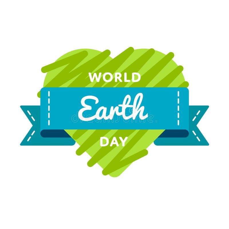 Έμβλημα χαιρετισμού ημέρας παγκόσμιας γης απεικόνιση αποθεμάτων