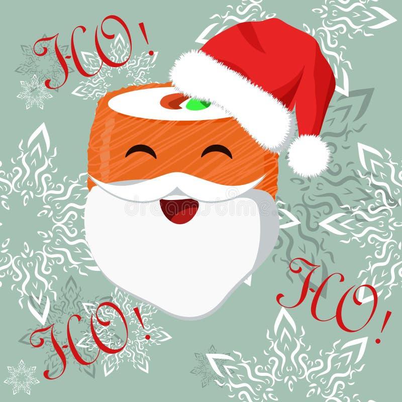 Έμβλημα Χριστουγέννων με την εικόνα σουσιών διανυσματική απεικόνιση