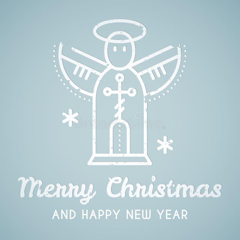 Έμβλημα ύφους γραμμών με τον τυποποιημένο άγγελο Χριστουγέννων ελεύθερη απεικόνιση δικαιώματος