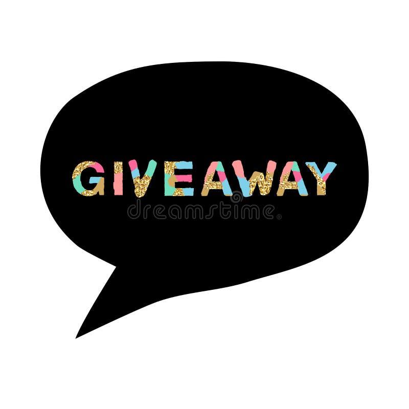 Έμβλημα Giveaway για τους κοινωνικούς διαγωνισμούς μέσων και την ειδική προσφορά απεικόνιση αποθεμάτων