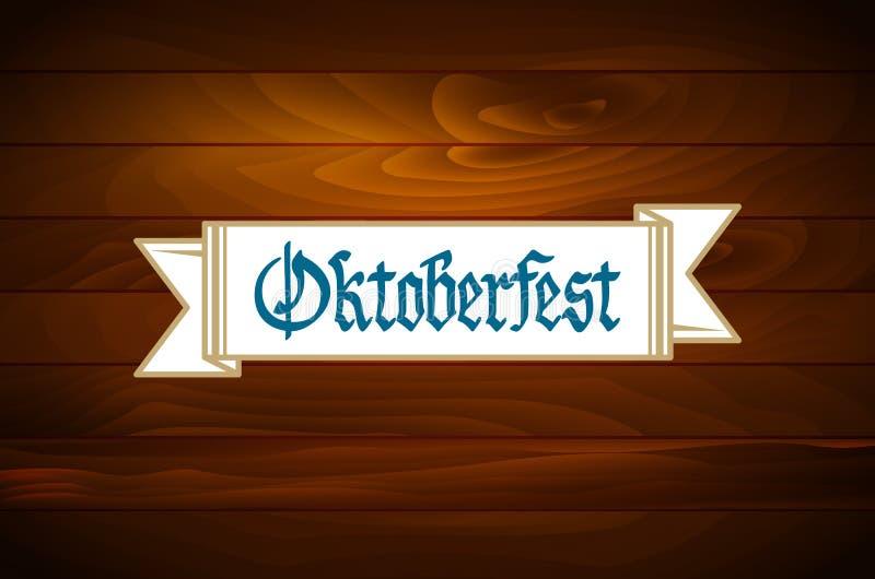Έμβλημα Oktoberfest στην παλαιά ξύλινη σύσταση απεικόνιση αποθεμάτων