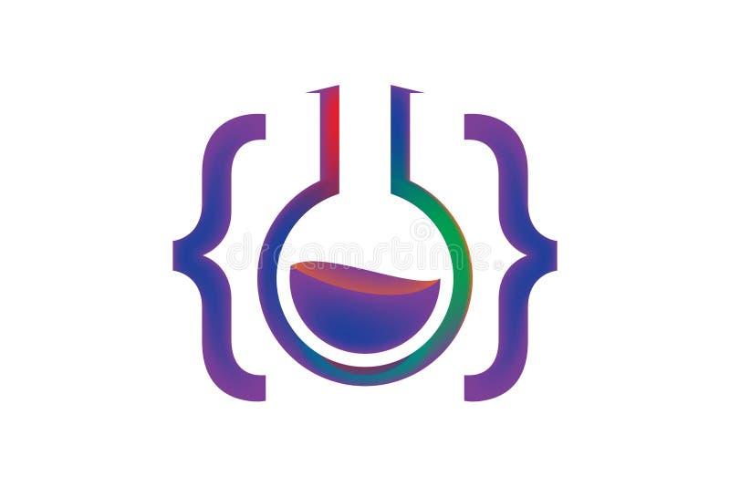 έμπνευση σχεδίου λογότυπων εργαστηρίων κώδικα διανυσματική απεικόνιση