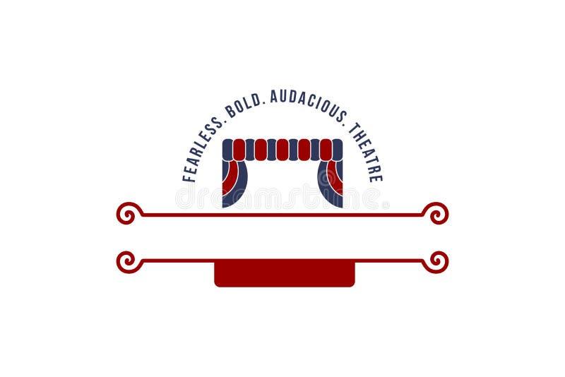 Έμπνευση σχεδίων λογότυπων θεάτρων συναυλίας κουρτινών που απομονώνεται στο άσπρο υπόβαθρο ελεύθερη απεικόνιση δικαιώματος