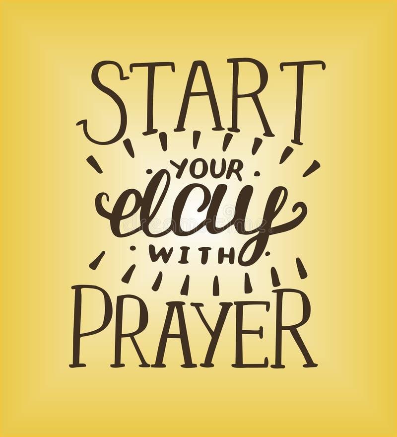 Έναρξη εγγραφής χεριών η ημέρα σας με την προσευχή διανυσματική απεικόνιση