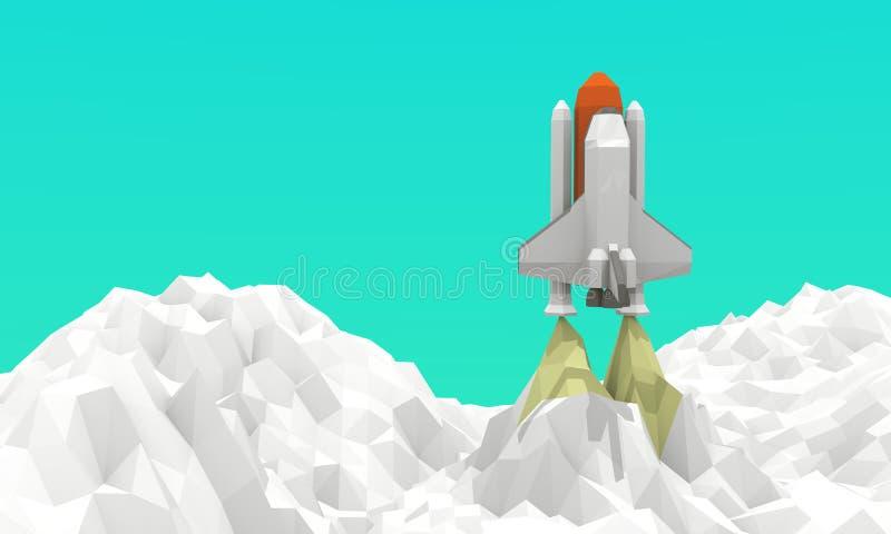 Έναρξη διαστημικών λεωφορείων χαμηλός-πολυ στοκ φωτογραφία