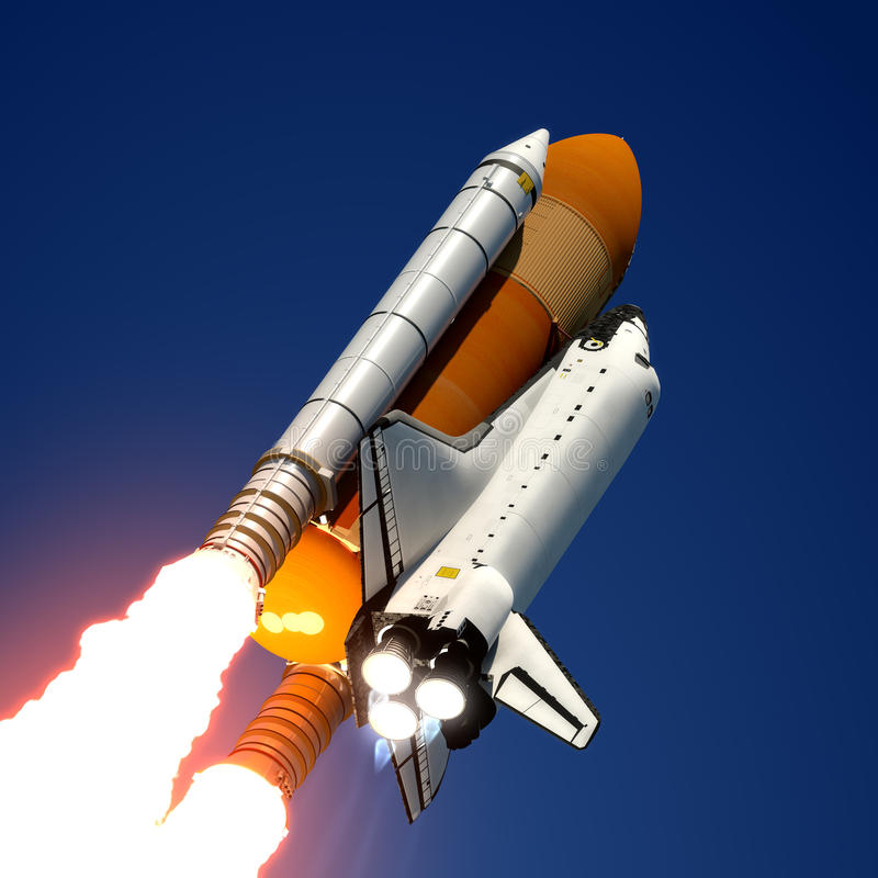 Έναρξη διαστημικών λεωφορείων. διανυσματική απεικόνιση