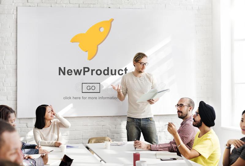 Έναρξη νέων προϊόντων που εμπορεύεται την εμπορική έννοια καινοτομίας στοκ εικόνες