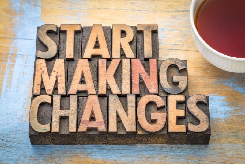 Έναρξη που κάνει τις αλλαγές - περίληψη λέξης στοκ εικόνες