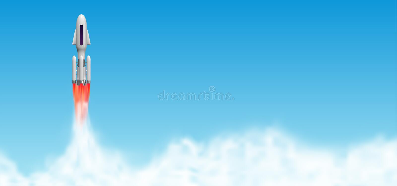 Έναρξη πυραύλων, έναρξη διαστημοπλοίων με τα σύννεφα ατμού Διανυσματική απεικόνιση σαϊτών με το διάστημα αντιγράφων ελεύθερη απεικόνιση δικαιώματος