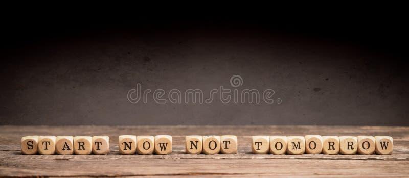 Έναρξη τώρα, όχι αύριο στοκ εικόνα με δικαίωμα ελεύθερης χρήσης