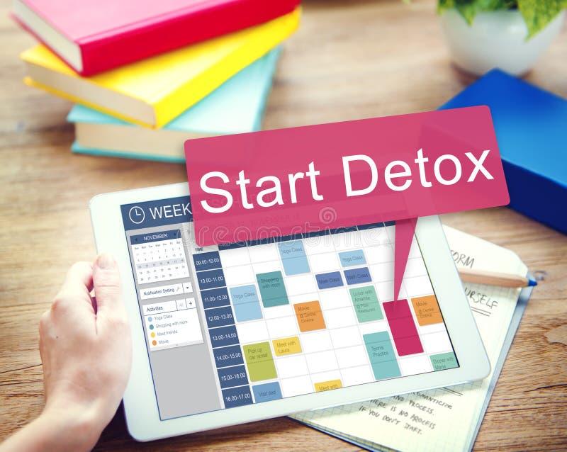 Έναρξη Detox που προγραμματίζει την υγιή έννοια Wellness στοκ εικόνες με δικαίωμα ελεύθερης χρήσης