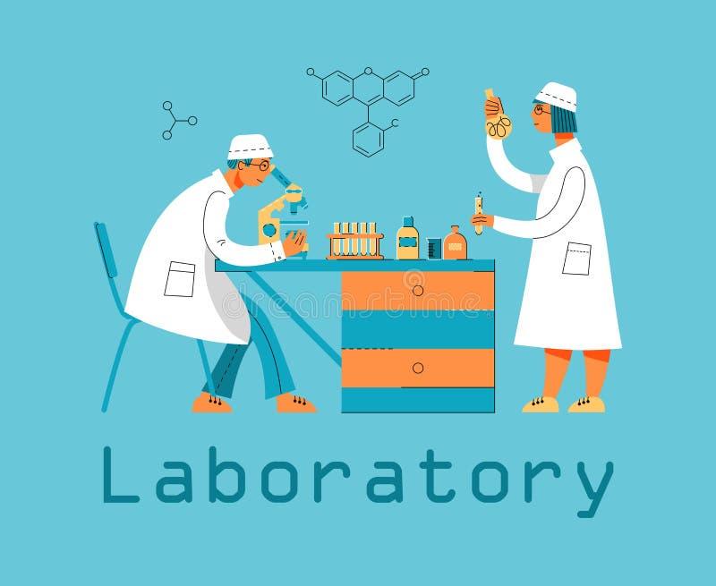 Ένας άνδρας και μια γυναίκα σε ομοιόμορφο εργάζονται σε ένα εργαστήριο Χημικό και βιολογικό εργαστήριο διανυσματική απεικόνιση