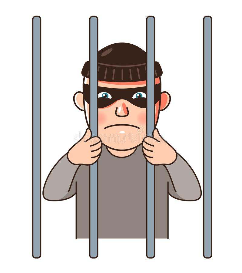 Ένας άνδρας φυλακισμένος φυλακίζεται πίσω από τα κάγκελα ελεύθερη απεικόνιση δικαιώματος