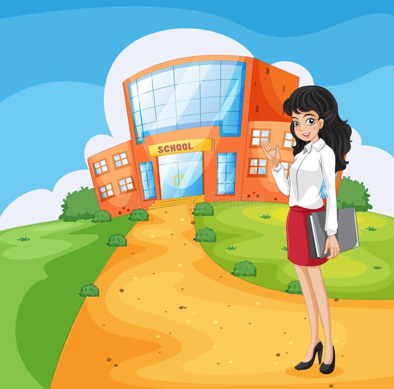 Ένας δάσκαλος που πηγαίνει στο σχολείο απεικόνιση αποθεμάτων