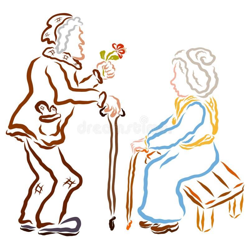 Ένας αγαπώντας ηληκιωμένος δίνει σε μια ηλικιωμένη γυναίκα ένα λουλούδι διανυσματική απεικόνιση