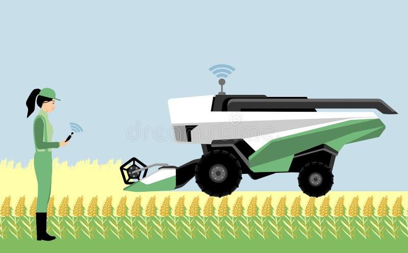 Ένας αγρότης γυναικών ελέγχει έναν αυτόνομο συνδυάζει τη θεριστική μηχανή ελεύθερη απεικόνιση δικαιώματος