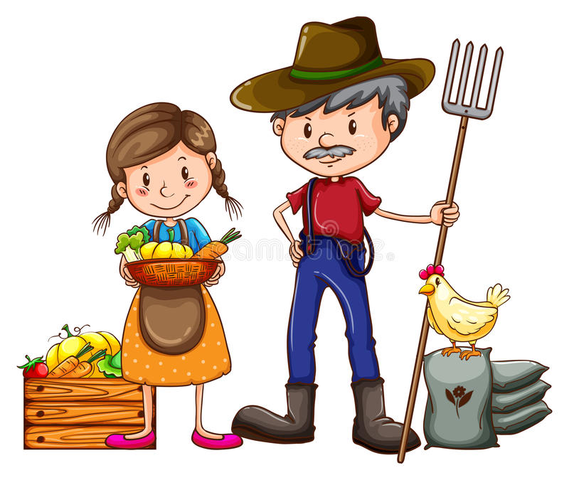 Ένας αγρότης και ένας προμηθευτής ελεύθερη απεικόνιση δικαιώματος