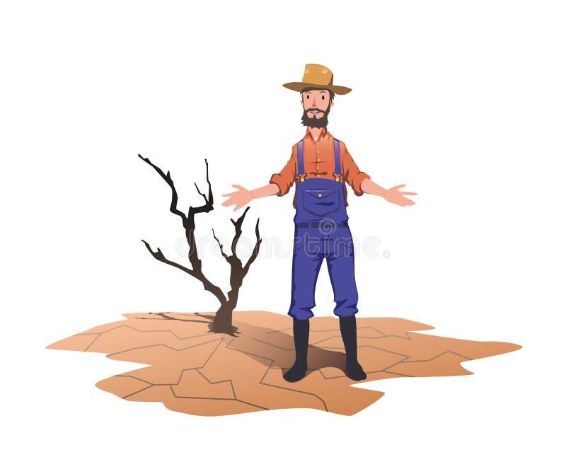 Ένας αγρότης που στέκεται δίπλα σε ένα ξηρό νεκρό δέντρο Έννοια στο θέμα της ξηρασίας, παγκόσμια αύξηση της θερμοκρασίας λόγω του διανυσματική απεικόνιση
