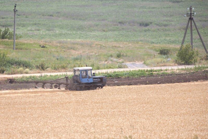 Ένας αγρότης σε ένα τρακτέρ προετοιμάζει το έδαφος με έναν καλλιεργητή ως τμήμα των pre-sowing δραστηριοτήτων στην αρχή της εποχή στοκ φωτογραφία με δικαίωμα ελεύθερης χρήσης