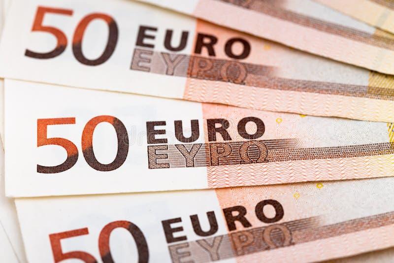 Ένας ανεμιστήρας πενήντα ευρο- τραπεζογραμματίων στοκ εικόνα με δικαίωμα ελεύθερης χρήσης