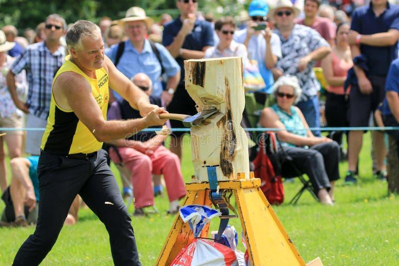 Ένας ανταγωνιστής τεμαχίζει το κούτσουρό του με ένα τσεκούρι στο ξύλινο γεγονός τεμαχισμού σε μια χώρα παρουσιάζει στοκ εικόνα με δικαίωμα ελεύθερης χρήσης