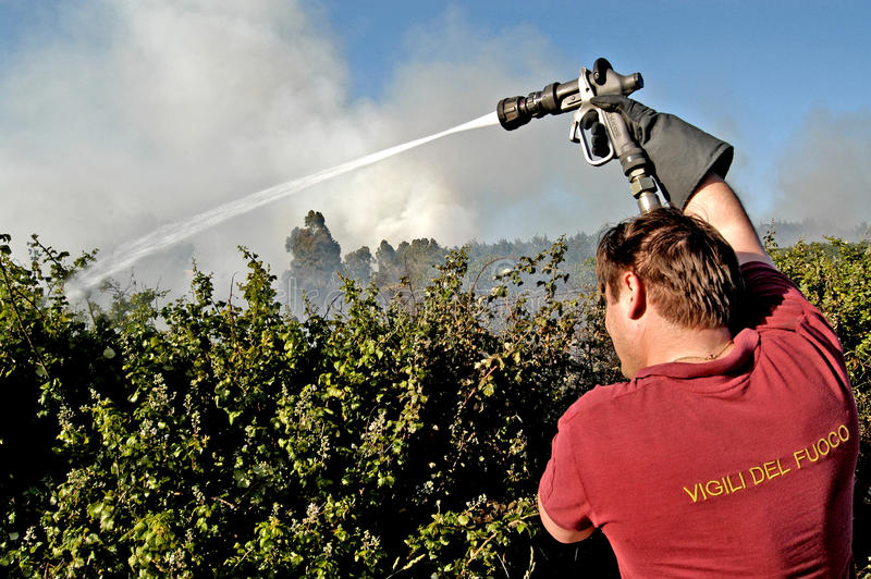 Ένας ανώτερος υπάλληλος πυρκαγιάς παλεύει ενάντια σε μια πυρκαγιά στοκ φωτογραφίες με δικαίωμα ελεύθερης χρήσης
