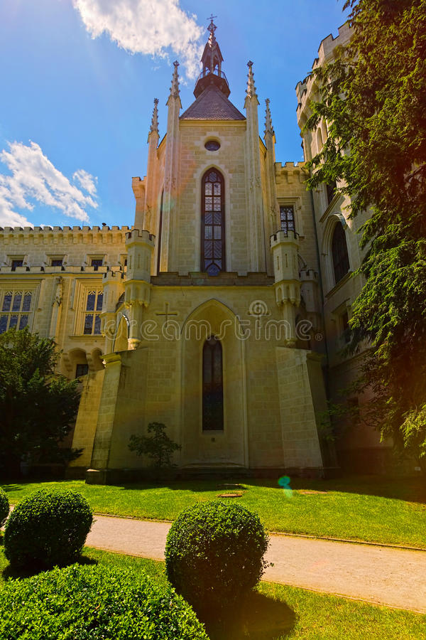 Ένας από τους πύργους του κάστρου γενιών Schwarzenberg, Δημοκρατία της Τσεχίας στοκ φωτογραφία