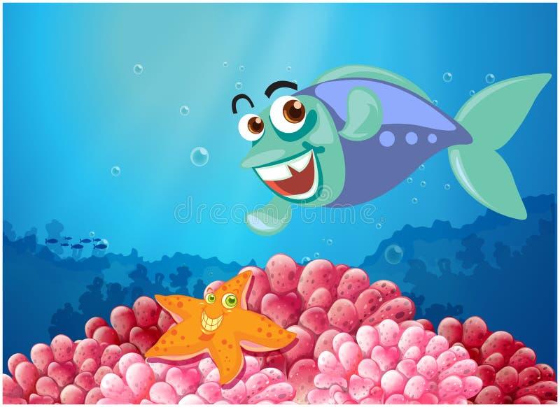Ένας αστερίας και ένα ψάρι κάτω από τη θάλασσα ελεύθερη απεικόνιση δικαιώματος
