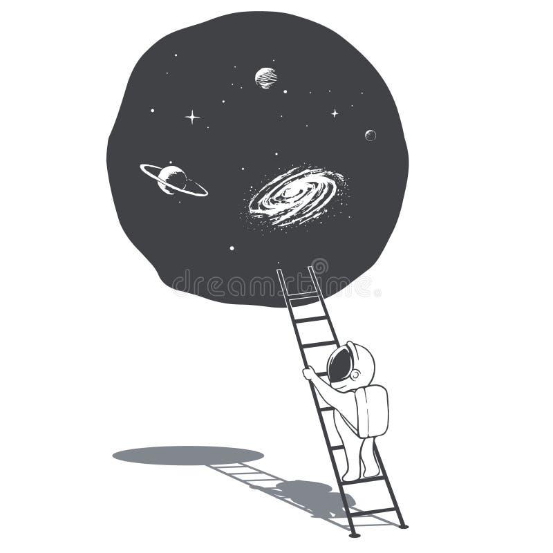 Ένας αστροναύτης αναρριχείται στη σκάλα στο διάστημα διανυσματική απεικόνιση