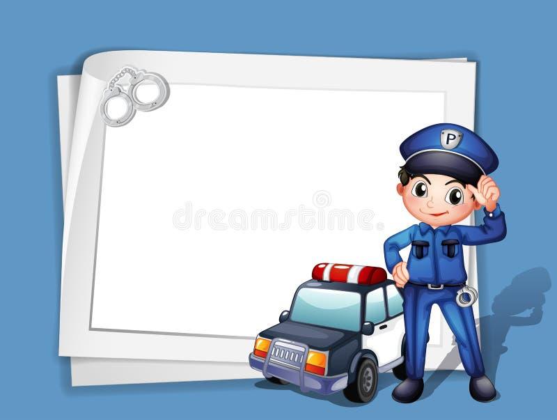 Ένας αστυνομικός εκτός από ένα περιπολικό της Αστυνομίας διανυσματική απεικόνιση