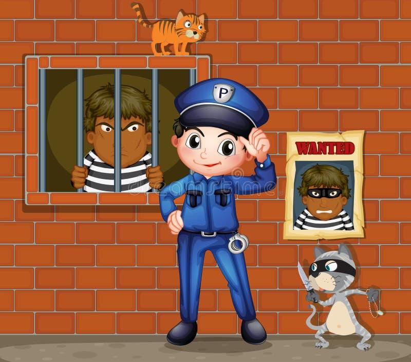 Ένας αστυνομικός μπροστά από μια φυλακή με δύο γάτες απεικόνιση αποθεμάτων