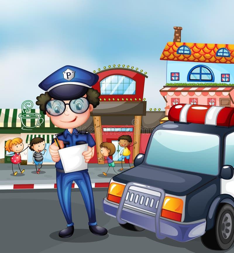 Ένας αστυνομικός σε έναν δρόμο με έντονη κίνηση απεικόνιση αποθεμάτων