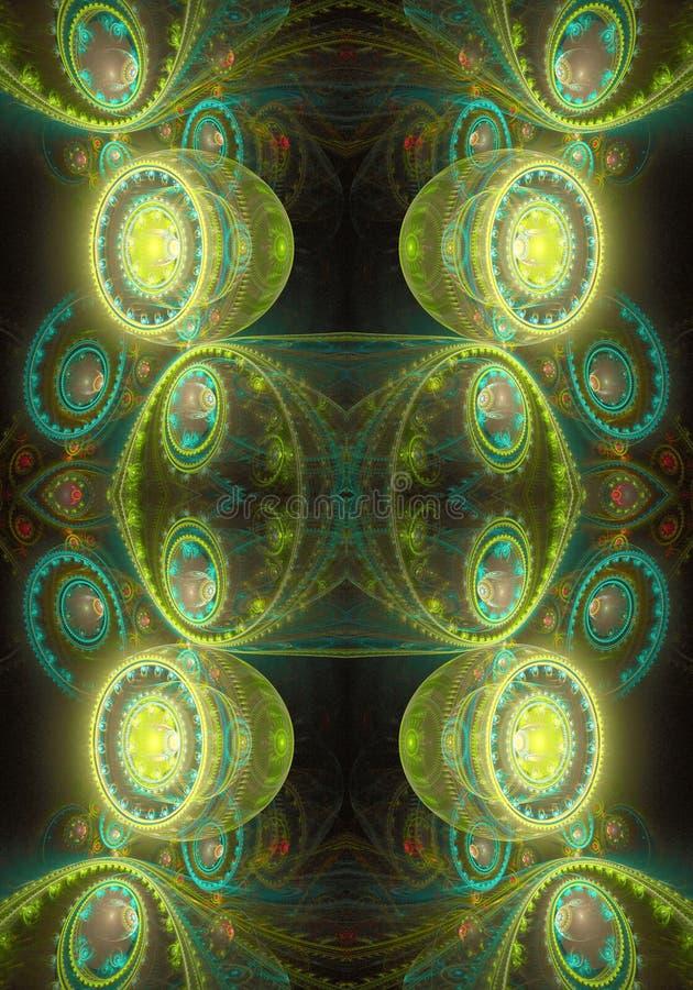 Ένας αφηρημένος πολύχρωμος μαλακός καλλιτεχνικός τρισδιάστατος υπολογιστής παρήγαγε το φουτουριστικό ενεργητικό κυκλικό fractal έ απεικόνιση αποθεμάτων